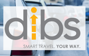 Image of Dibs logo over layed on road traffic