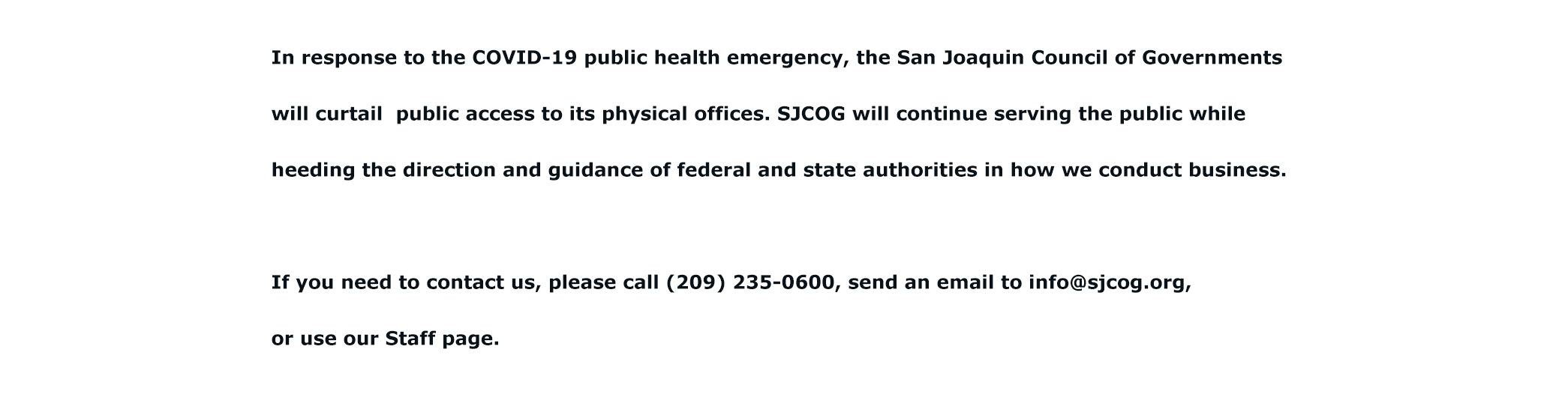 SJCOG offices closed in response to COVID health emergency